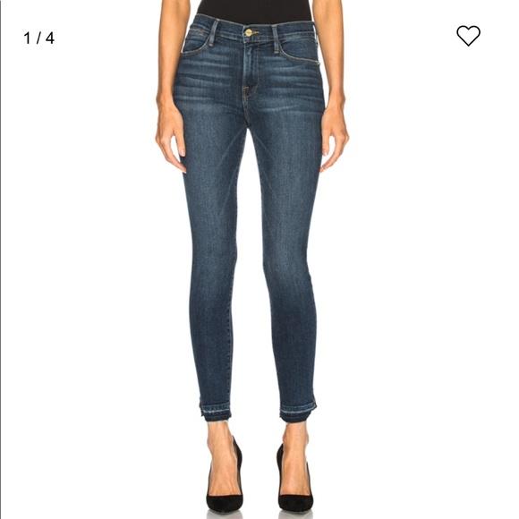 NWT FRAME DENIM Le Francoise High Rise Skinny Jeans In Black Noir Sz 24 25 26